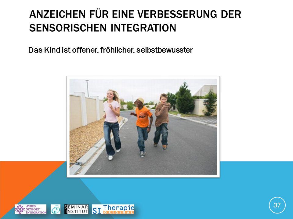 ANZEICHEN FÜR EINE VERBESSERUNG DER SENSORISCHEN INTEGRATION Das Kind verhält sich geordneter 38