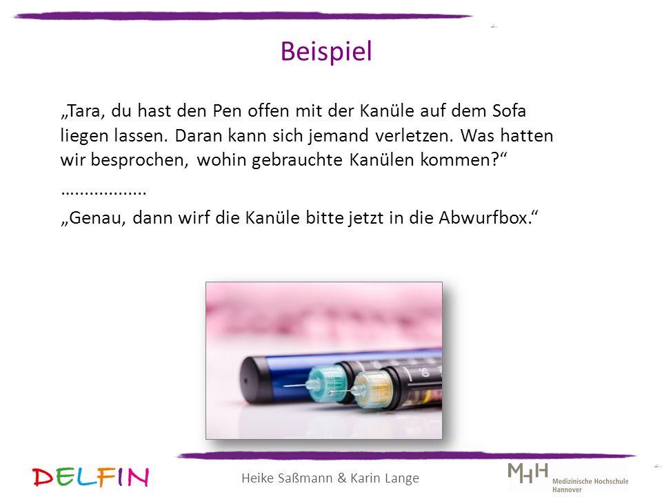 """Heike Saßmann & Karin Lange Beispiel """"Tara, du hast den Pen offen mit der Kanüle auf dem Sofa liegen lassen. Daran kann sich jemand verletzen. Was hat"""