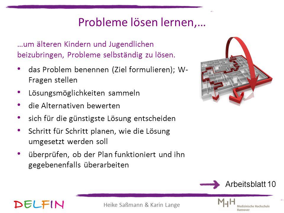 Heike Saßmann & Karin Lange Probleme lösen lernen,… …um älteren Kindern und Jugendlichen beizubringen, Probleme selbständig zu lösen. das Problem bene