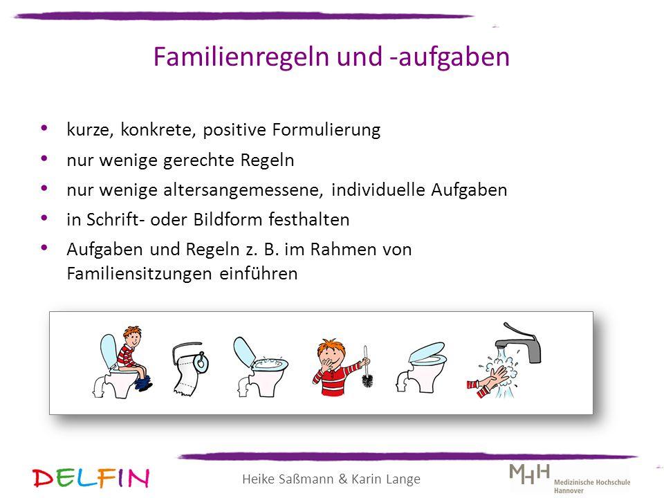 Heike Saßmann & Karin Lange Familienregeln und -aufgaben kurze, konkrete, positive Formulierung nur wenige gerechte Regeln nur wenige altersangemessen
