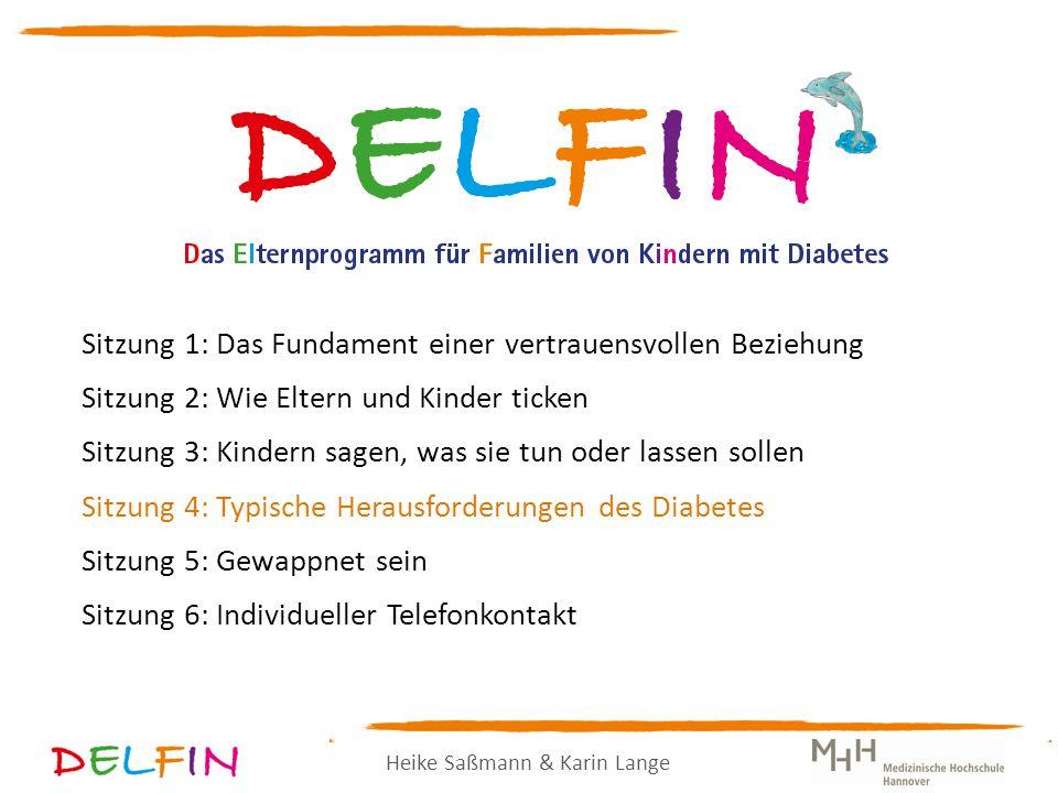 Heike Saßmann & Karin Lange Sitzung 1: Das Fundament einer vertrauensvollen Beziehung Sitzung 2: Wie Eltern und Kinder ticken Sitzung 3: Kindern sagen, was sie tun oder lassen sollen Sitzung 4: Typische Herausforderungen des Diabetes Sitzung 5: Gewappnet sein Sitzung 6: Individueller Telefonkontakt