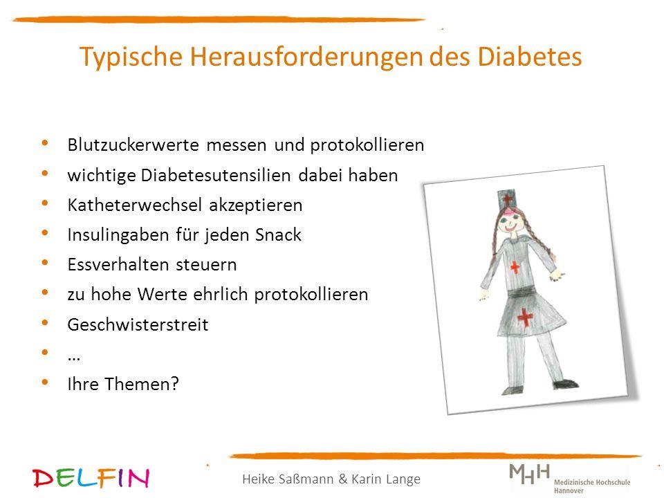Heike Saßmann & Karin Lange Typische Herausforderungen des Diabetes Blutzuckerwerte messen und protokollieren wichtige Diabetesutensilien dabei haben Katheterwechsel akzeptieren Insulingaben für jeden Snack Essverhalten steuern zu hohe Werte ehrlich protokollieren Geschwisterstreit … Ihre Themen?