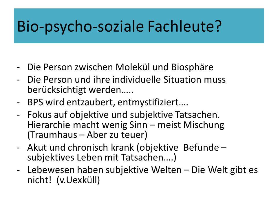 Bio-psycho-soziale Fachleute? -Die Person zwischen Molekül und Biosphäre -Die Person und ihre individuelle Situation muss berücksichtigt werden….. -BP