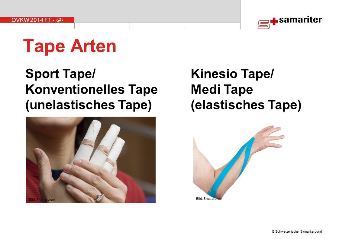 OVKW 2014 FT - 11 © Schweizerischer Samariterbund Sport Tape/ Konventionelles Tape (unelastisches Tape) Kinesio Tape/ Medi Tape (elastisches Tape) Tap