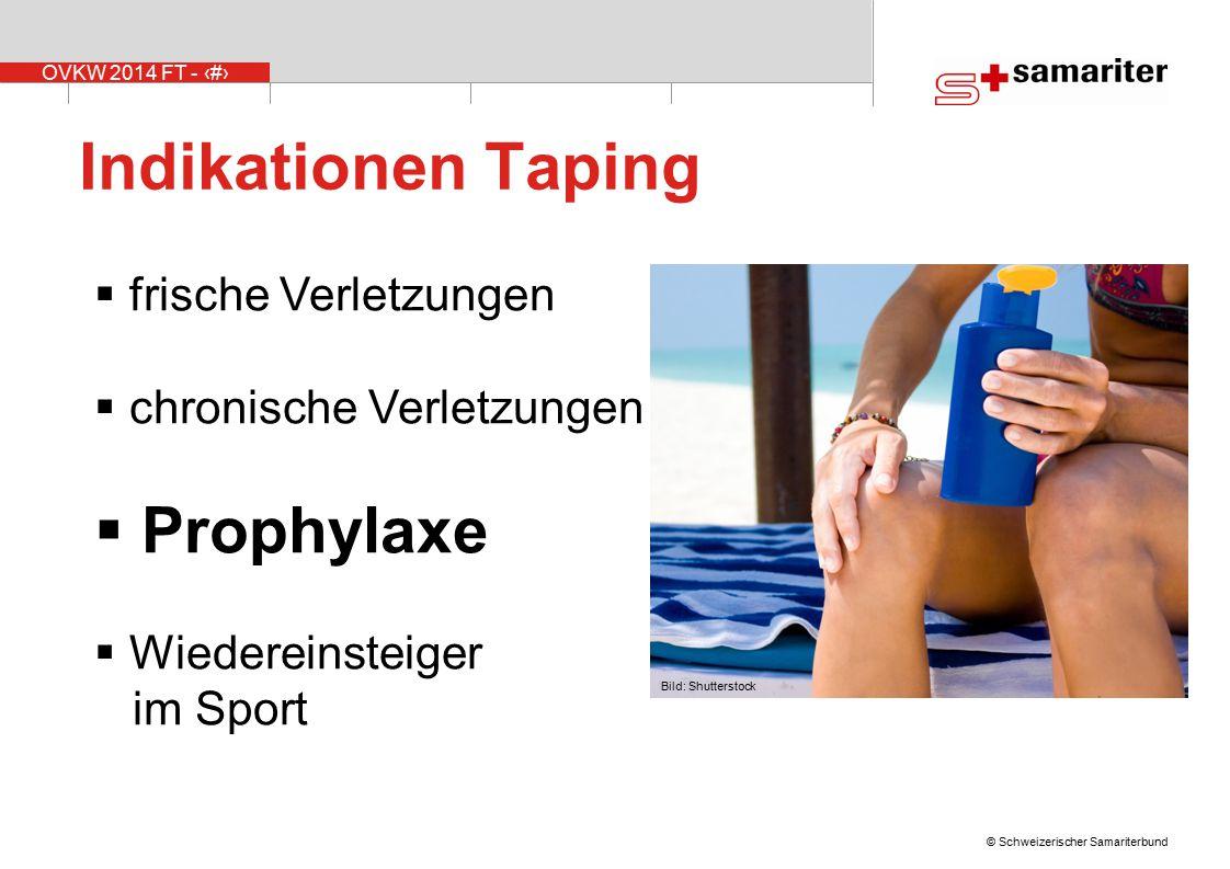 OVKW 2014 FT - 12 © Schweizerischer Samariterbund Indikationen Taping  frische Verletzungen  chronische Verletzungen  Prophylaxe  Wiedereinsteiger