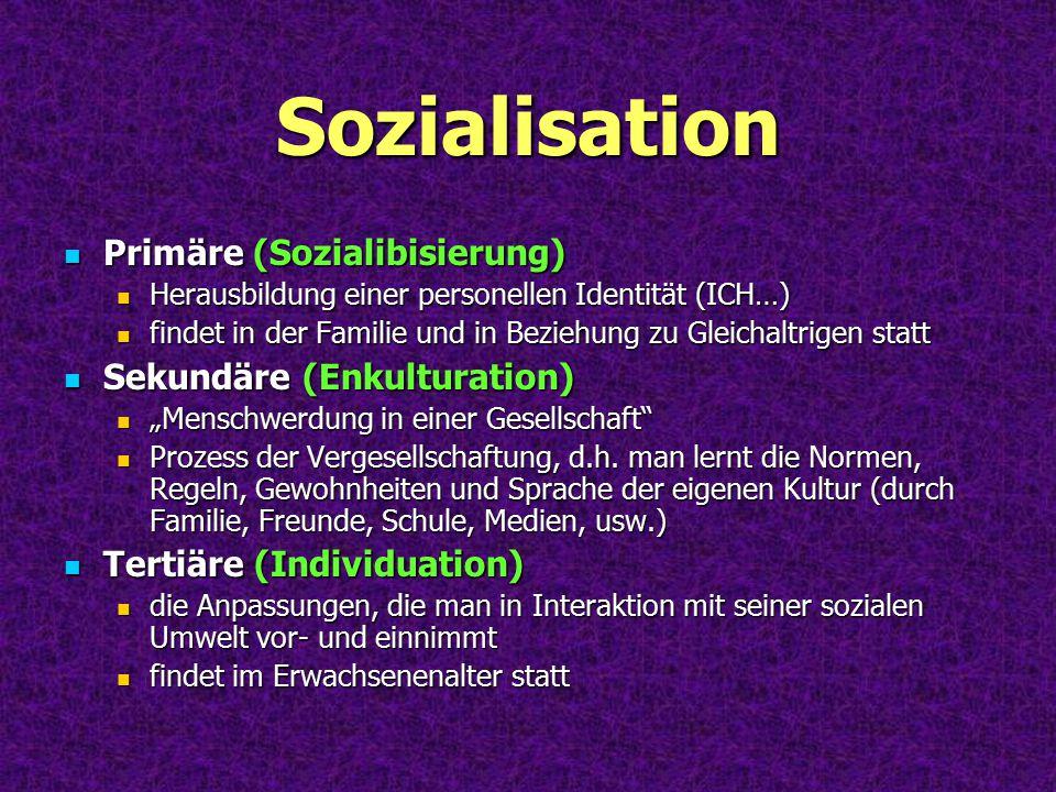 Sozialisation Primäre (Sozialibisierung) Herausbildung einer personellen Identität (ICH…) findet in der Familie und in Beziehung zu Gleichaltrigen sta
