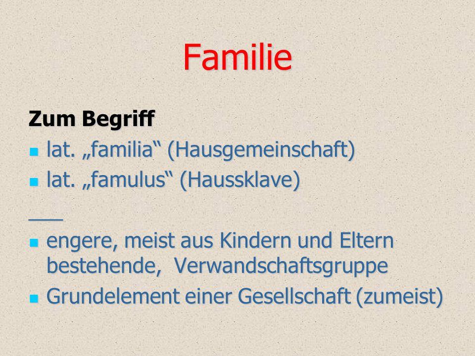 "Familie Zum Begriff lat. ""familia"" (Hausgemeinschaft) lat. ""familia"" (Hausgemeinschaft) lat. ""famulus"" (Haussklave) lat. ""famulus"" (Haussklave)___ eng"