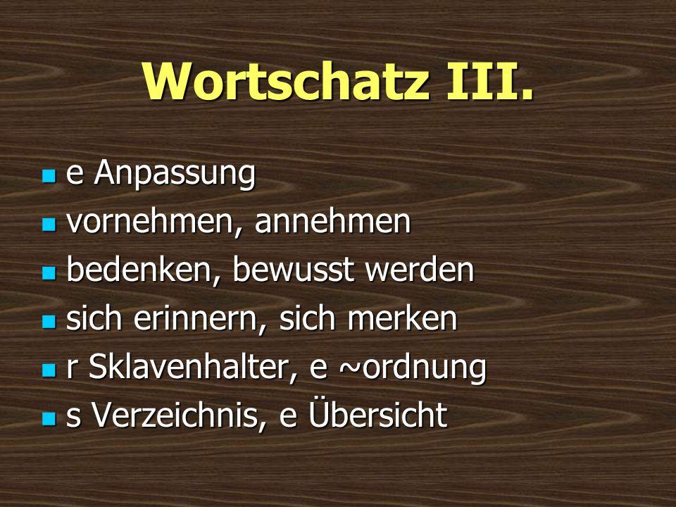 Wortschatz III. e Anpassung e Anpassung vornehmen, annehmen vornehmen, annehmen bedenken, bewusst werden bedenken, bewusst werden sich erinnern, sich