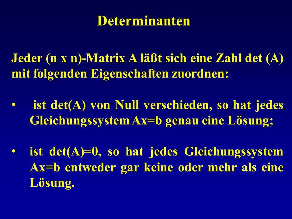 Determinanten Jeder (n x n)-Matrix A läßt sich eine Zahl det (A) mit folgenden Eigenschaften zuordnen: ist det(A) von Null verschieden, so hat jedes G