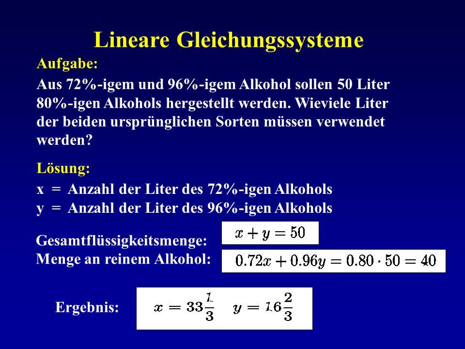 Lineare Gleichungssysteme Aufgabe: Aus 72%-igem und 96%-igem Alkohol sollen 50 Liter 80%-igen Alkohols hergestellt werden. Wieviele Liter der beiden u