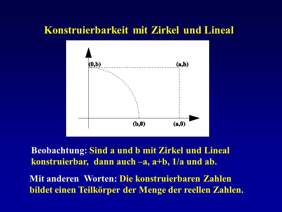 Konstruierbarkeit mit Zirkel und Lineal Beobachtung: Sind a und b mit Zirkel und Lineal konstruierbar, dann auch –a, a+b, 1/a und ab. Mit anderen Wort