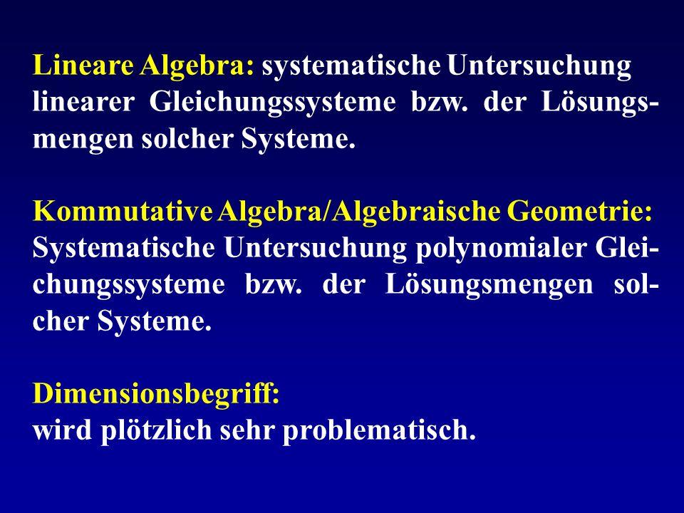 Lineare Algebra: systematische Untersuchung linearer Gleichungssysteme bzw. der Lösungs- mengen solcher Systeme. Kommutative Algebra/Algebraische Geom