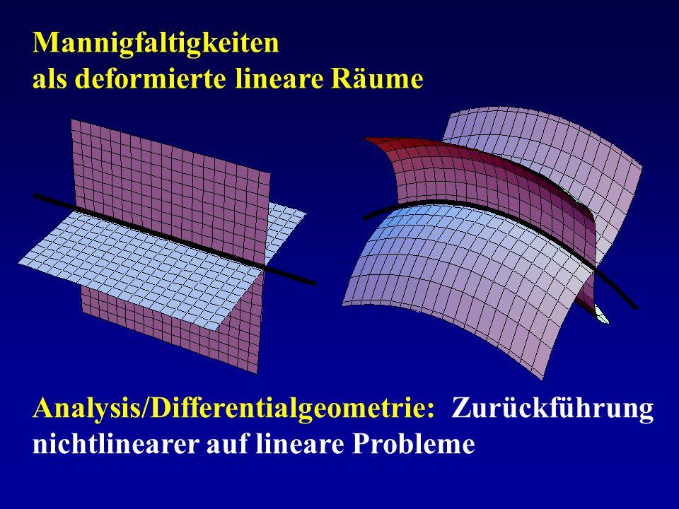 Mannigfaltigkeiten als deformierte lineare Räume Analysis/Differentialgeometrie: Zurückführung nichtlinearer auf lineare Probleme