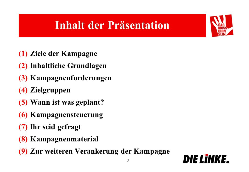 Inhalt der Präsentation (1)Ziele der Kampagne (2)Inhaltliche Grundlagen (3)Kampagnenforderungen (4)Zielgruppen (5)Wann ist was geplant? (6)Kampagnenst