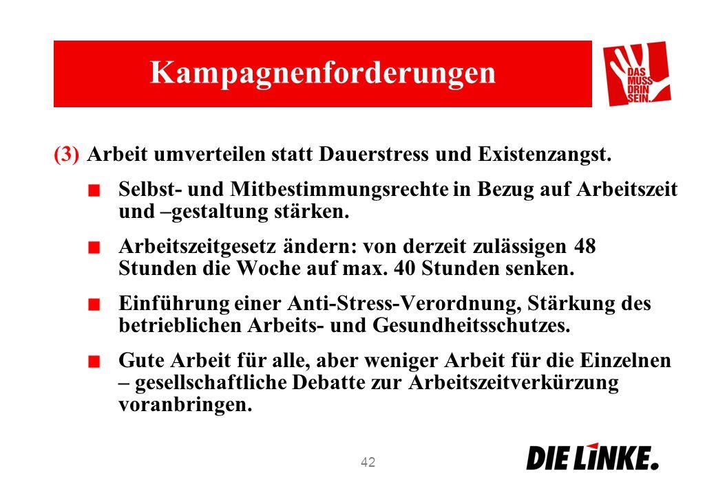 Kampagnenforderungen (3)Arbeit umverteilen statt Dauerstress und Existenzangst. Selbst- und Mitbestimmungsrechte in Bezug auf Arbeitszeit und –gestalt