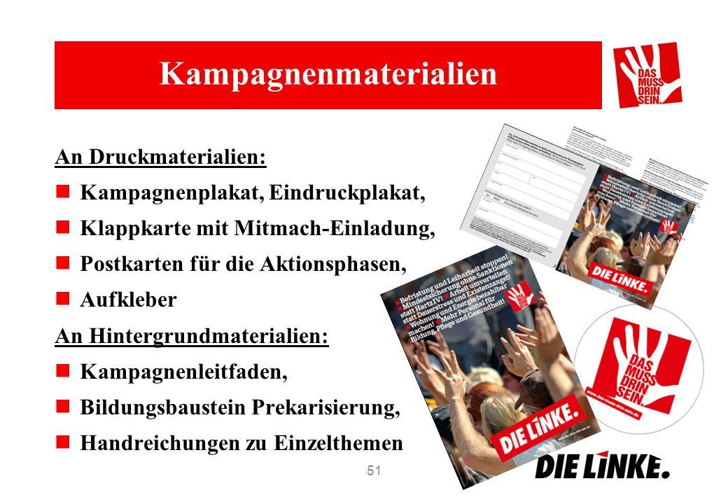 Kampagnenmaterialien An Druckmaterialien: Kampagnenplakat, Eindruckplakat, Klappkarte mit Mitmach-Einladung, Postkarten für die Aktionsphasen, Aufkleb