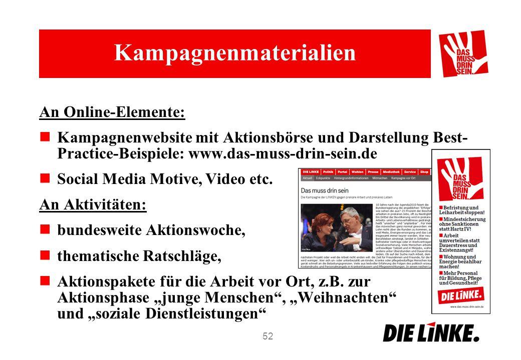Kampagnenmaterialien An Online-Elemente: Kampagnenwebsite mit Aktionsbörse und Darstellung Best- Practice-Beispiele: www.das-muss-drin-sein.de Social Media Motive, Video etc.
