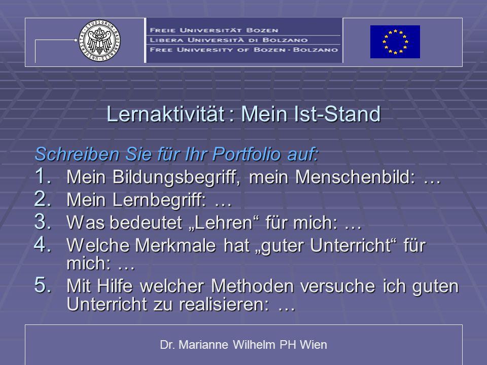 Dr. Marianne Wilhelm PH Wien Lernaktivität : Mein Ist-Stand Schreiben Sie für Ihr Portfolio auf: 1. Mein Bildungsbegriff, mein Menschenbild: … 2. Mein