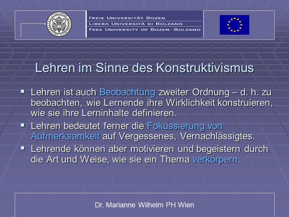 Dr. Marianne Wilhelm PH Wien Lehren im Sinne des Konstruktivismus  Lehren ist auch Beobachtung zweiter Ordnung – d. h. zu beobachten, wie Lernende ih