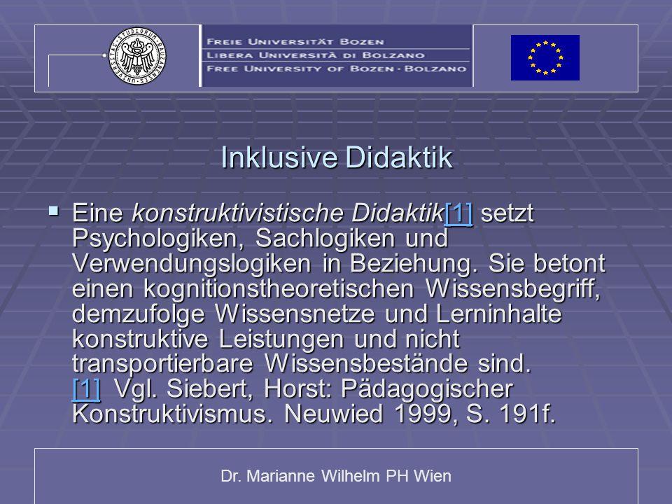 Dr. Marianne Wilhelm PH Wien Inklusive Didaktik  Eine konstruktivistische Didaktik[1] setzt Psychologiken, Sachlogiken und Verwendungslogiken in Bezi