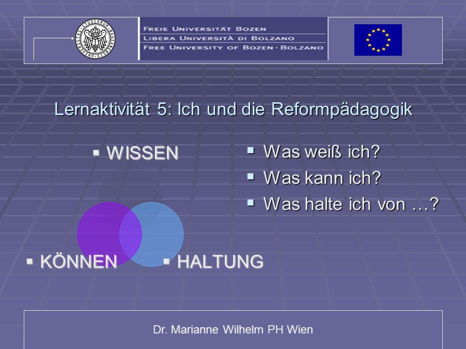 Dr. Marianne Wilhelm PH Wien Lernaktivität 5: Ich und die Reformpädagogik WISSENWISSEN HALTUNGHALTUNG KÖNNENKÖNNEN  Was weiß ich?  Was kann ich?  W