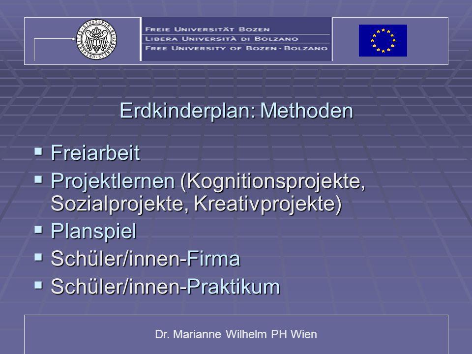 Dr. Marianne Wilhelm PH Wien Erdkinderplan: Methoden  Freiarbeit  Projektlernen (Kognitionsprojekte, Sozialprojekte, Kreativprojekte)  Planspiel 