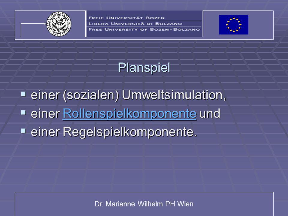 Dr. Marianne Wilhelm PH Wien Planspiel  einer (sozialen) Umweltsimulation,  einer Rollenspielkomponente und Rollenspielkomponente  einer Regelspiel