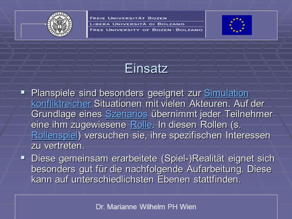 Dr. Marianne Wilhelm PH Wien Einsatz  Planspiele sind besonders geeignet zur Simulation konfliktreicher Situationen mit vielen Akteuren. Auf der Grun