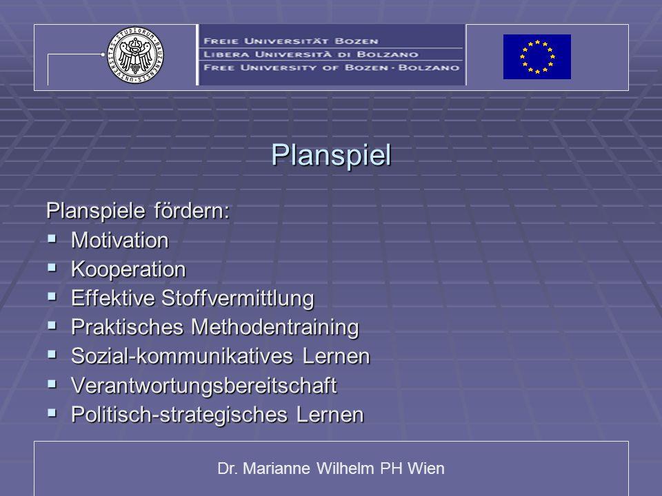 Dr. Marianne Wilhelm PH Wien Planspiel Planspiele fördern:  Motivation  Kooperation  Effektive Stoffvermittlung  Praktisches Methodentraining  So