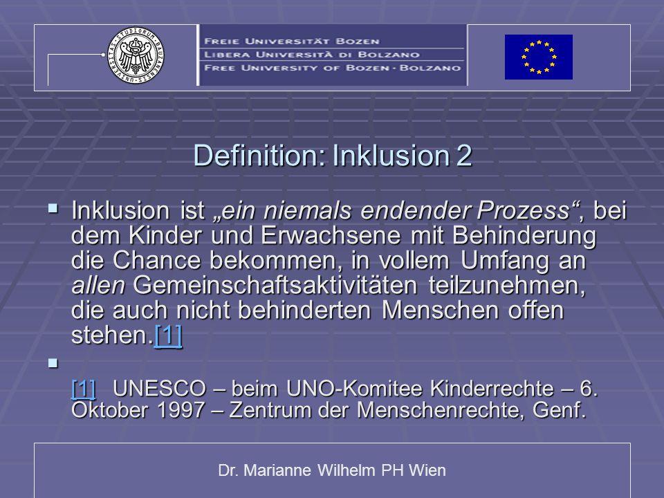 """Dr. Marianne Wilhelm PH Wien Definition: Inklusion 2  Inklusion ist """"ein niemals endender Prozess"""", bei dem Kinder und Erwachsene mit Behinderung die"""