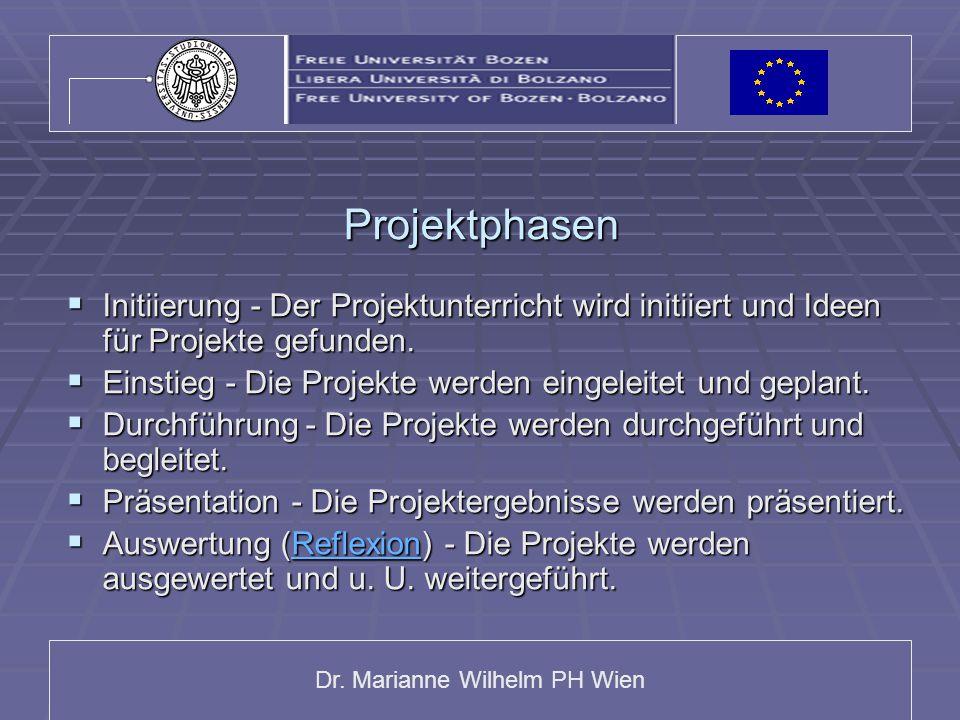 Dr. Marianne Wilhelm PH Wien Projektphasen  Initiierung - Der Projektunterricht wird initiiert und Ideen für Projekte gefunden.  Einstieg - Die Proj