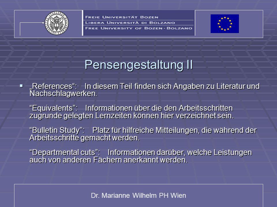 """Dr. Marianne Wilhelm PH Wien Pensengestaltung II  """"References"""": In diesem Teil finden sich Angaben zu Literatur und Nachschlagwerken. """"Equivalents"""":"""