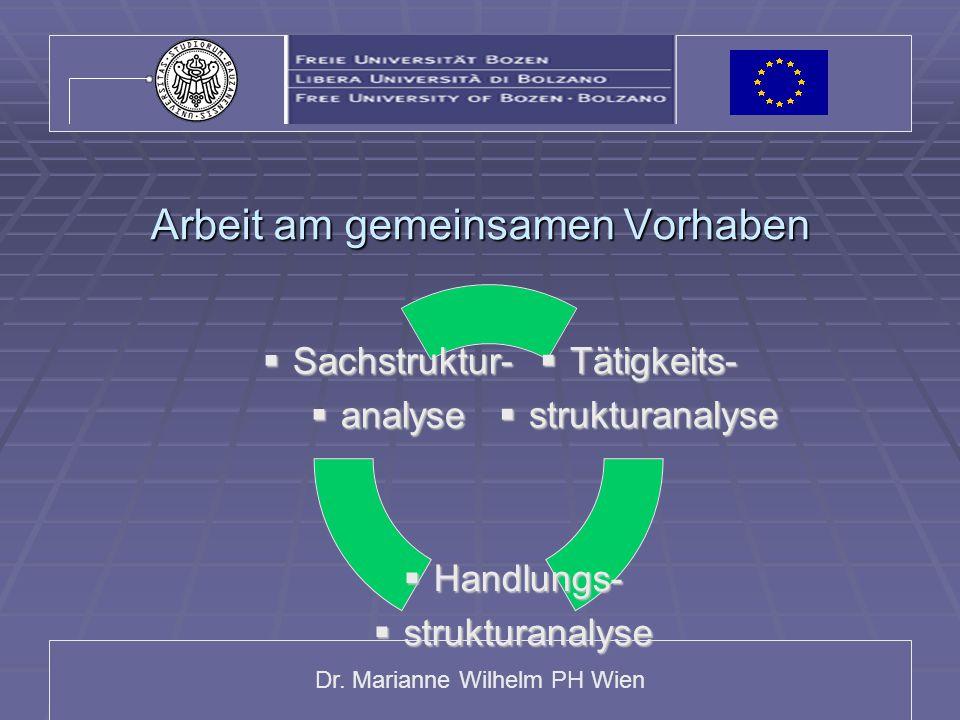 Dr. Marianne Wilhelm PH Wien Arbeit am gemeinsamen Vorhaben Tätigkeits-Tätigkeits- strukturanalysestrukturanalyse Handlungs-Handlungs- strukturanalyse