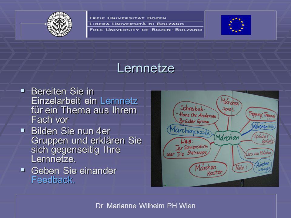 Dr. Marianne Wilhelm PH Wien Lernnetze  Bereiten Sie in Einzelarbeit ein Lernnetz für ein Thema aus Ihrem Fach vor  Bilden Sie nun 4er Gruppen und e