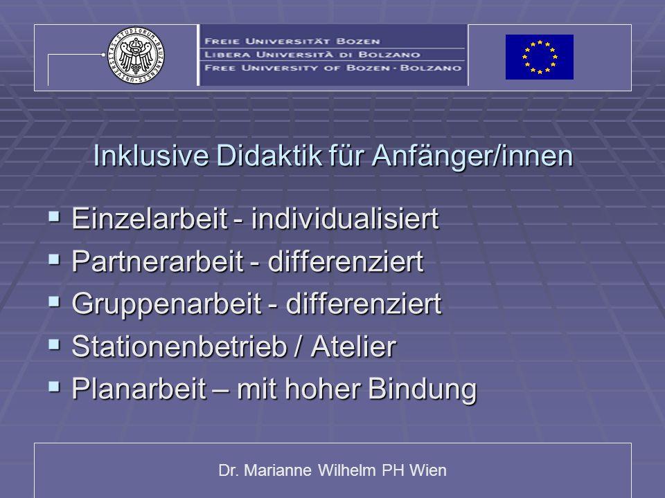 Dr. Marianne Wilhelm PH Wien Inklusive Didaktik für Anfänger/innen  Einzelarbeit - individualisiert  Partnerarbeit - differenziert  Gruppenarbeit -