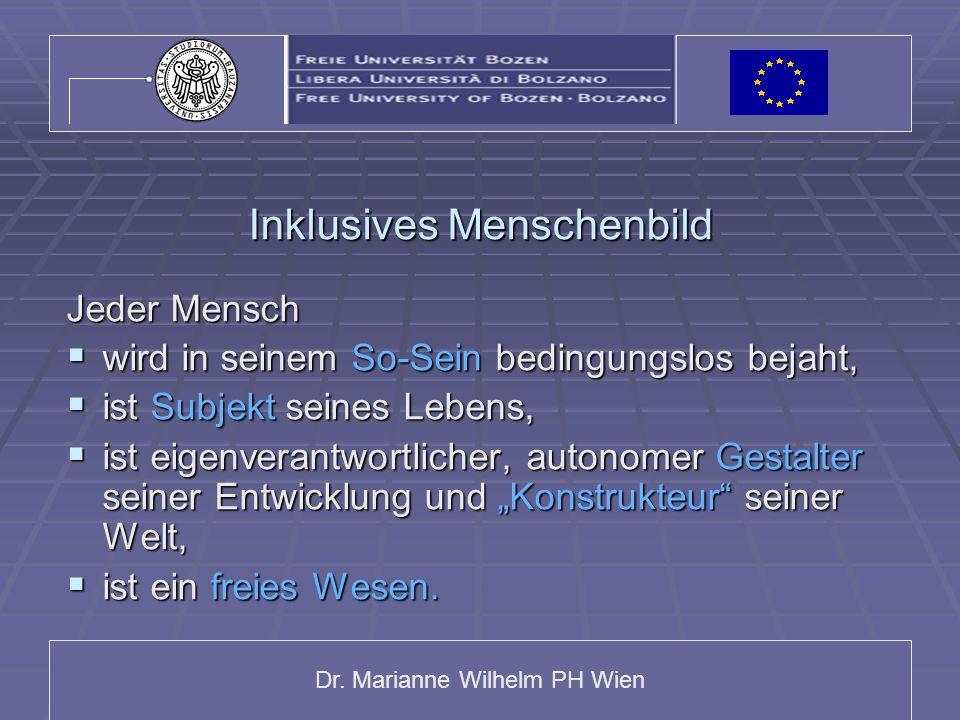Dr. Marianne Wilhelm PH Wien Inklusives Menschenbild Jeder Mensch  wird in seinem So-Sein bedingungslos bejaht,  ist Subjekt seines Lebens,  ist ei