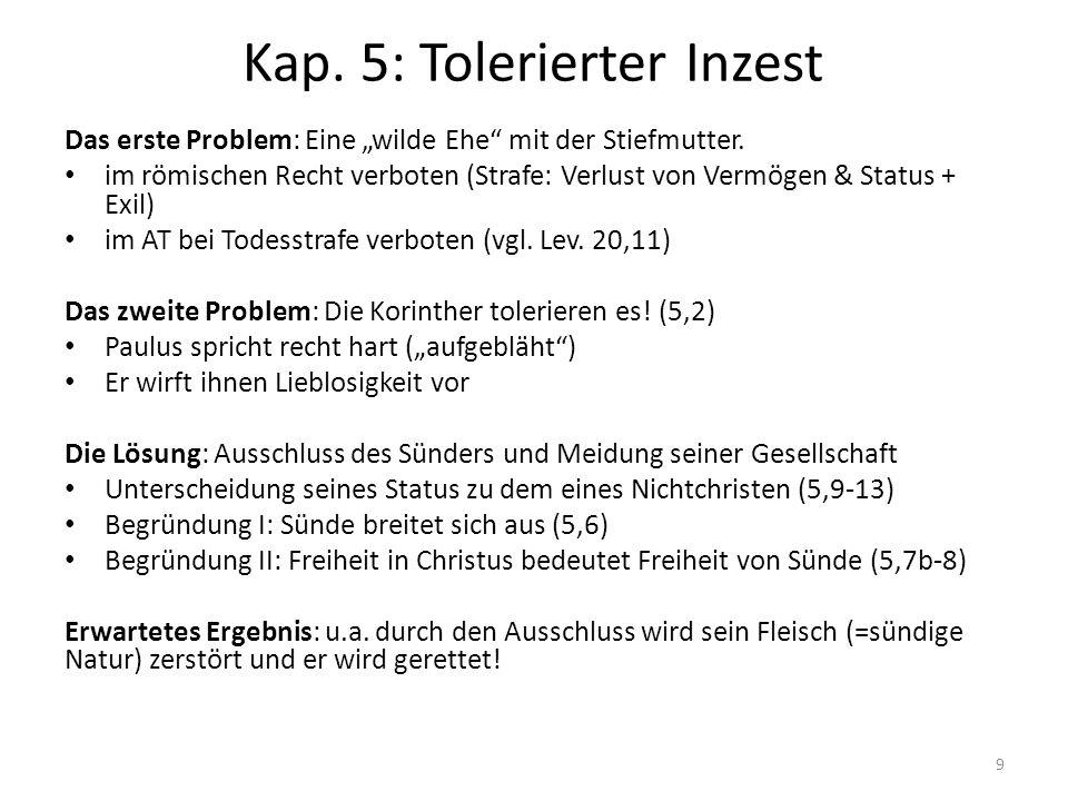 """Kap. 5: Tolerierter Inzest Das erste Problem: Eine """"wilde Ehe"""" mit der Stiefmutter. im römischen Recht verboten (Strafe: Verlust von Vermögen & Status"""