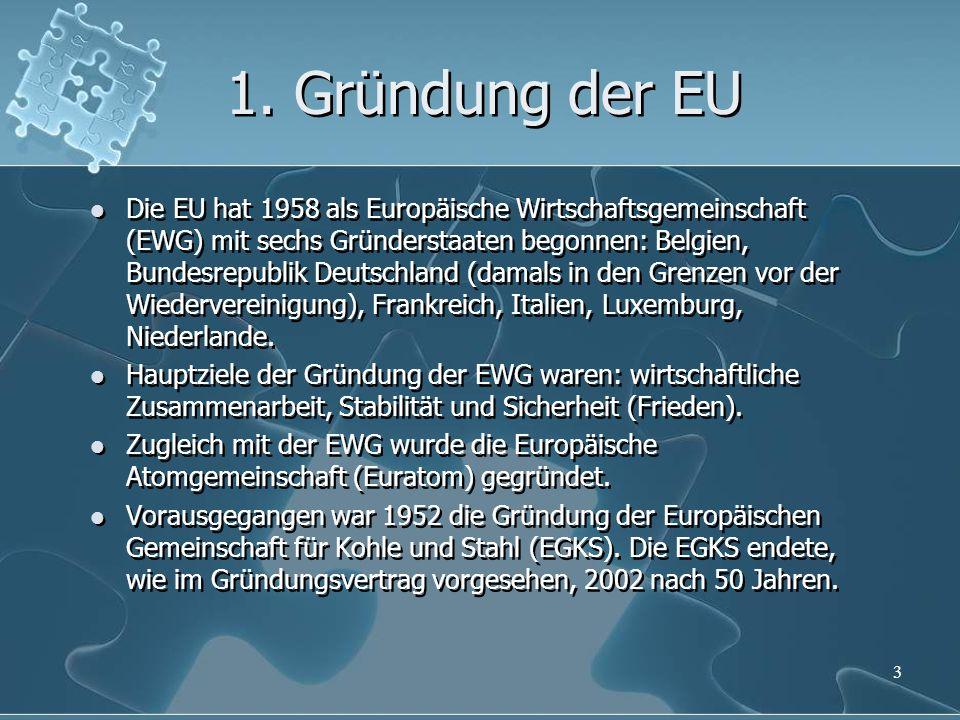 1. Gründung der EU Die EU hat 1958 als Europäische Wirtschaftsgemeinschaft (EWG) mit sechs Gründerstaaten begonnen: Belgien, Bundesrepublik Deutschlan