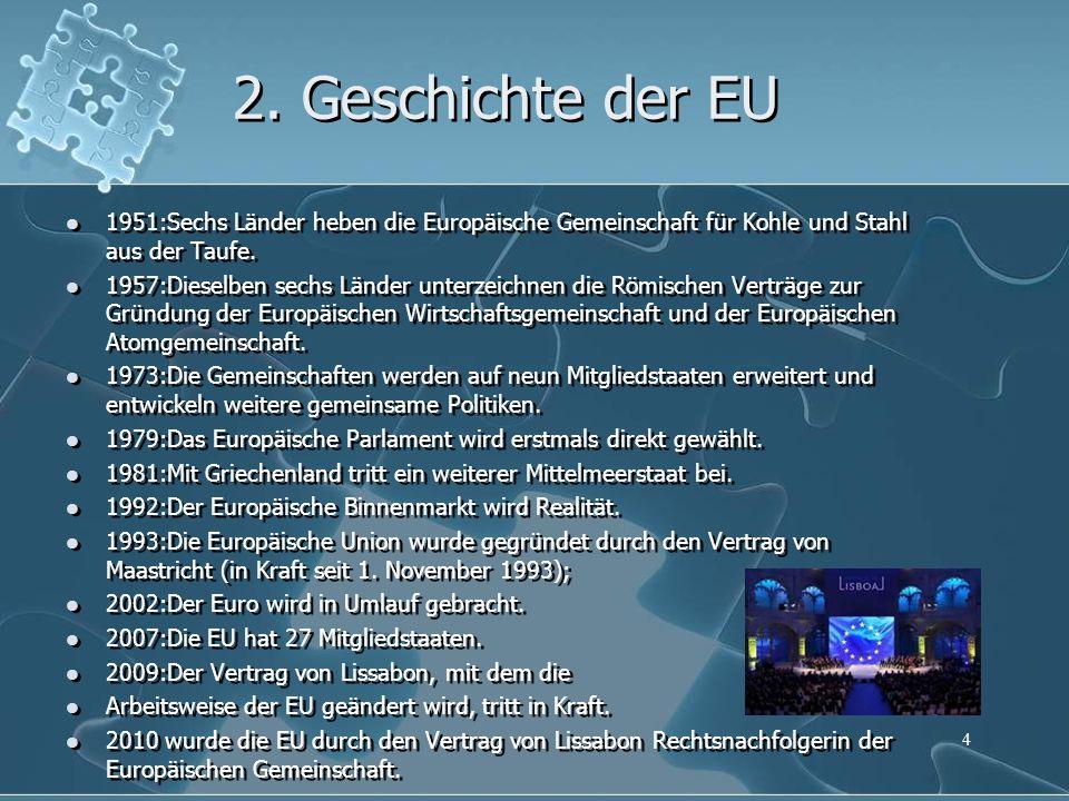 2. Geschichte der EU 1951:Sechs Länder heben die Europäische Gemeinschaft für Kohle und Stahl aus der Taufe. 1957:Dieselben sechs Länder unterzeichnen