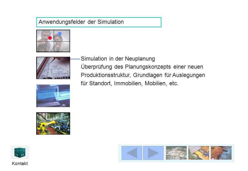 Kontakt Simulation in der Neuplanung Überprüfung des Planungskonzepts einer neuen Produktionsstruktur, Grundlagen für Auslegungen für Standort, Immobilien, Mobilien, etc.