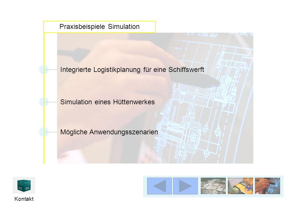 Kontakt Praxisbeispiele Simulation Integrierte Logistikplanung für eine Schiffswerft Simulation eines Hüttenwerkes Mögliche Anwendungsszenarien