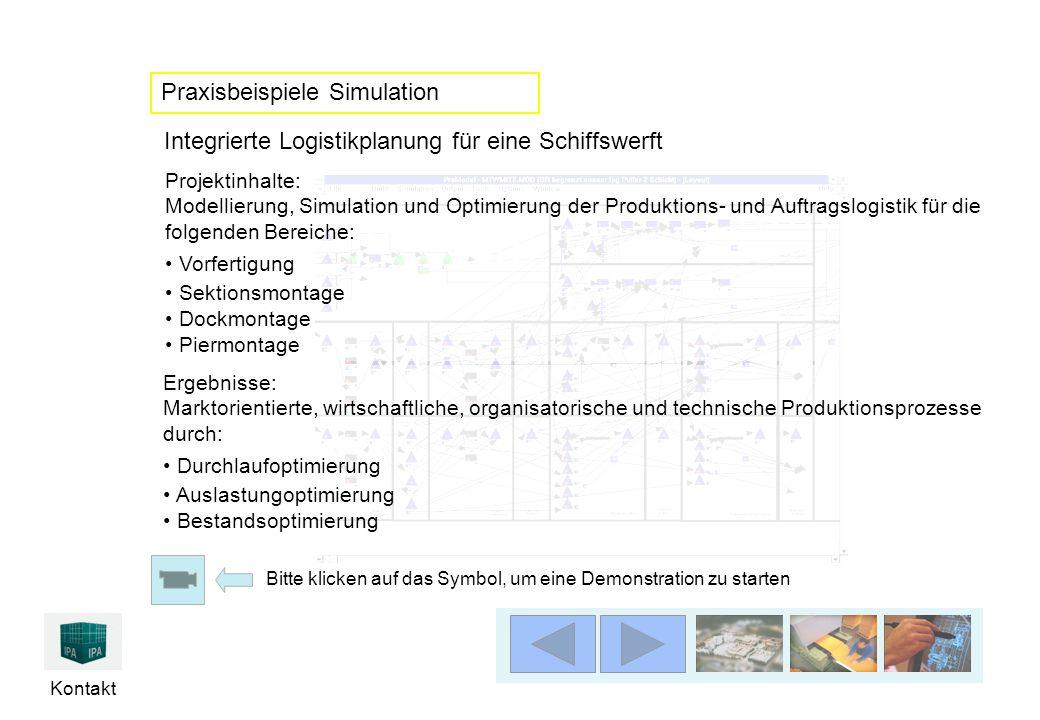 Kontakt Projektinhalte: Modellierung, Simulation und Optimierung der Produktions- und Auftragslogistik für die folgenden Bereiche: Vorfertigung Sektio