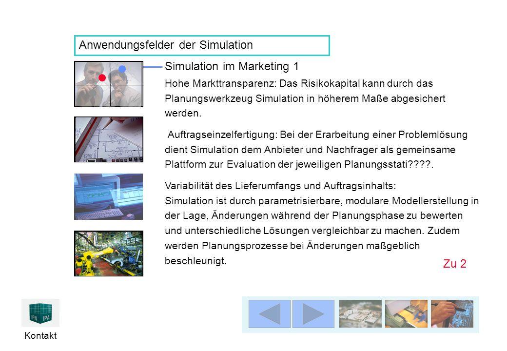 Kontakt Anwendungsfelder der Simulation Simulation im Marketing 1 Hohe Markttransparenz: Das Risikokapital kann durch das Planungswerkzeug Simulation in höherem Maße abgesichert werden.