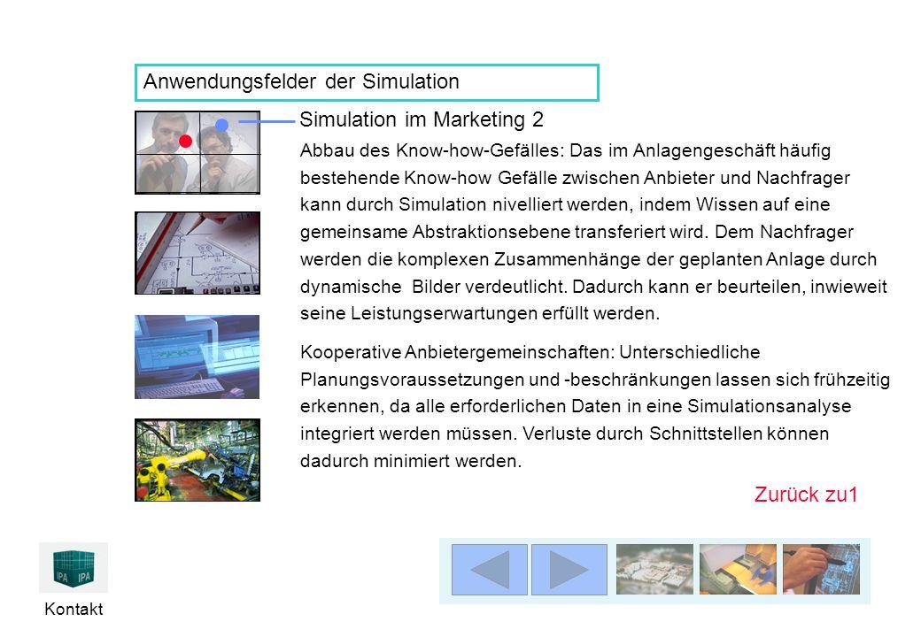 Kontakt Anwendungsfelder der Simulation Simulation im Marketing 2 Abbau des Know-how-Gefälles: Das im Anlagengeschäft häufig bestehende Know-how Gefäl