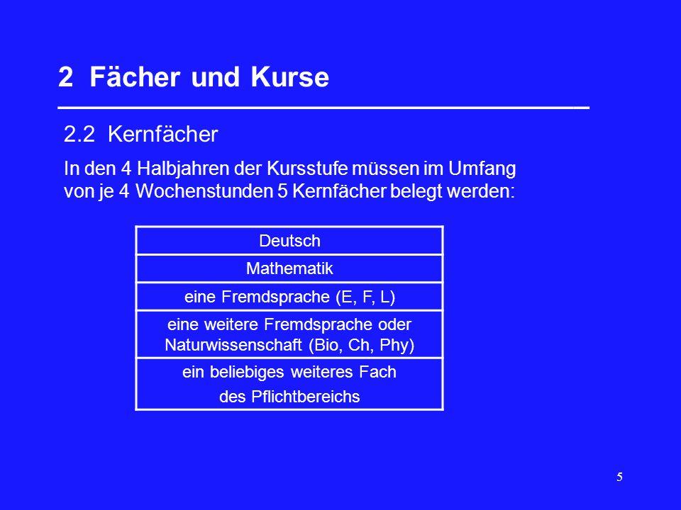 5 2 Fächer und Kurse __________________________________ 2.2 Kernfächer Deutsch Mathematik eine Fremdsprache (E, F, L) eine weitere Fremdsprache oder N