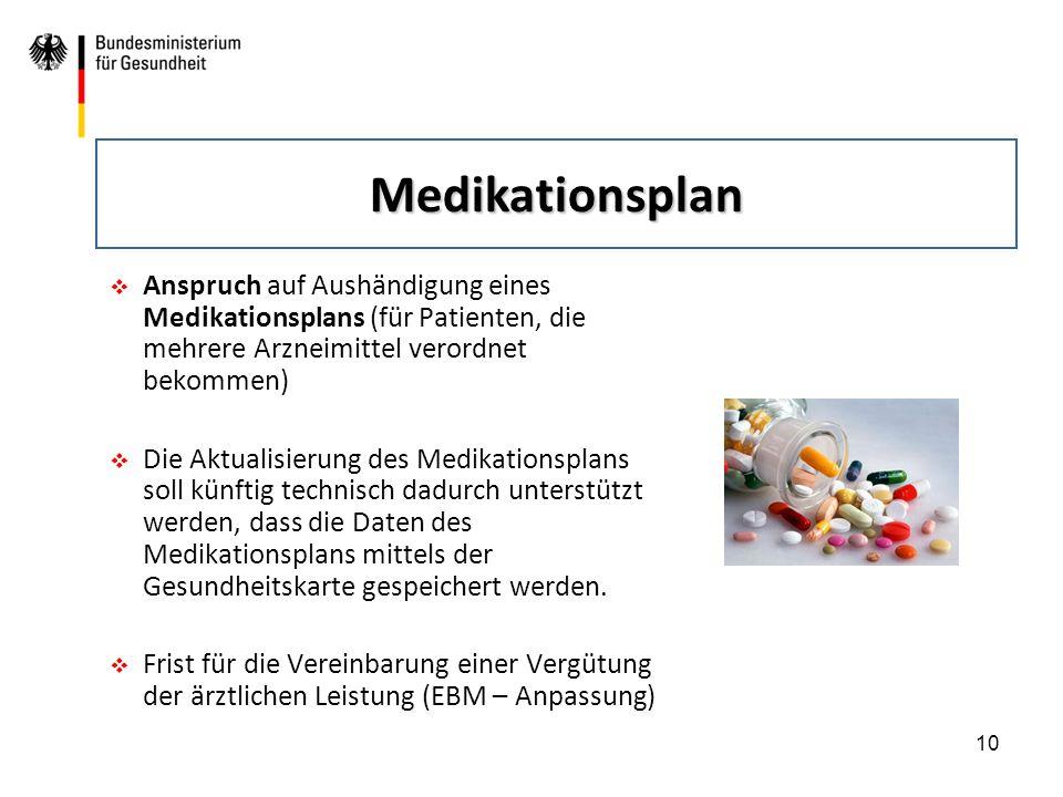 10  Anspruch auf Aushändigung eines Medikationsplans (für Patienten, die mehrere Arzneimittel verordnet bekommen)  Die Aktualisierung des Medikation