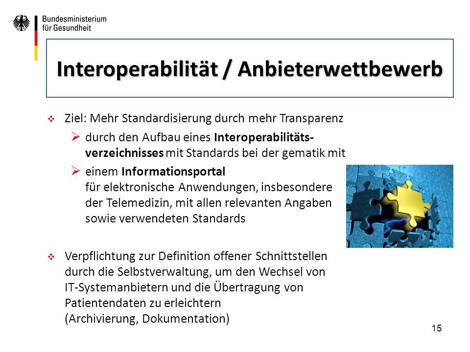 15  Ziel: Mehr Standardisierung durch mehr Transparenz  durch den Aufbau eines Interoperabilitäts- verzeichnisses mit Standards bei der gematik mit