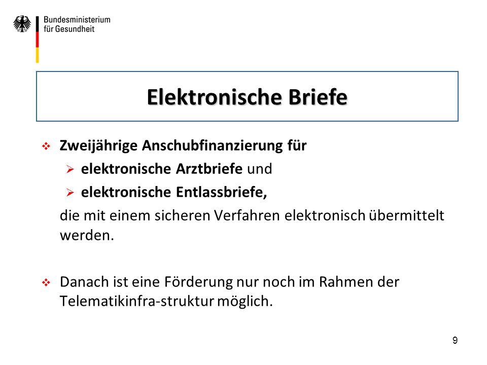 9  Zweijährige Anschubfinanzierung für  elektronische Arztbriefe und  elektronische Entlassbriefe, die mit einem sicheren Verfahren elektronisch üb