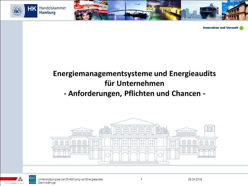 Innovation und Umwelt 28.04.20151Unterstützung bei der Einführung von Energieaudits, Dennis Binge Innovation und Umwelt 1 Energiemanagementsysteme und