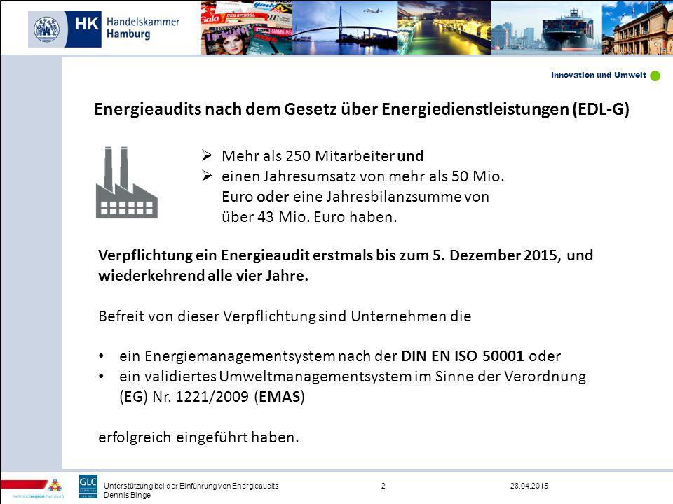 Innovation und Umwelt 28.04.20153Unterstützung bei der Einführung von Energieaudits, Dennis Binge Ein Merkblatt zu Energieaudits liegt derzeit im Entwurf vor und wird in Kürze in seiner Endfassung veröffentlicht.